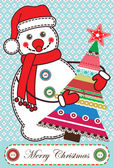 Christmas card with snowman in scrapbooking style — Stock Vector