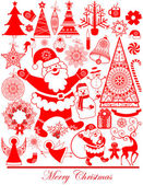 Collection Stylized Christmas Icons And Elements, Isolated On White Background — Stock Vector