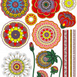 Set of flower parts and decorative ornaments — Stock Vector