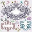Vintage frames and floral elements - Imagen vectorial