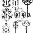 Vector Set of Antique Keys and Keyholes - Stok Vektör
