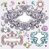 Vintage frames and floral elements — Stockvector