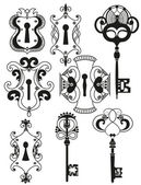 Vector Set of Antique Keys and Keyholes — Stock Vector
