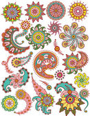 Set of ornamental Floral Paisley elements for design — Stock Vector