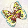 Beautiful abstract butterfly on a flower background - Image vectorielle