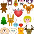 Set of fun toys for Christmas tree and not only — Stock Vector
