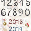 Vector ink grunge brush numbers. New Year 2013, 2014 — Stock Vector