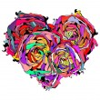 Royalty-Free Stock Vector Image: Abstract colorful heart of roses with grungy element