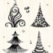 Set of hand drawn christmas trees. — Stock Vector