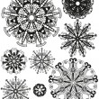 Set of decorative design elements, snowflakes.Vector art — Stock Vector
