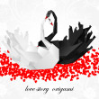 Couple origami swans. Valentines background — Vector de stock