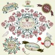 Vintage vector set: retro design elements, page decoration, Premium Quality and Satisfaction Guarantee Label collection - Stock Vector