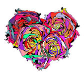 Abstract colorful heart of roses with grungy element — Stock Vector