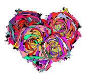 汚れた要素とバラの抽象的なカラフルなハート — ストックベクタ