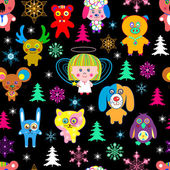 Holiday seamless pattern with toys and snowflakes — Stock Vector