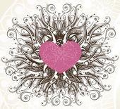 Corazón abstracto con elementos florales — Vector de stock