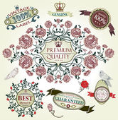 Vintage vector set: retro design elements, page decoration, Premium Quality and Satisfaction Guarantee Label collection — Stock Vector