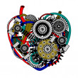 Mechanical heart. Vector illustration - Stock Vector