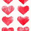 Set of sketchy hearts, hand drawn design elements — Stock Vector