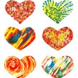 Set of Hand drawn hearts. Vector colorful design element - Stock Vector