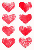 大ざっぱな心のセットを手描きデザイン要素 — ストックベクタ
