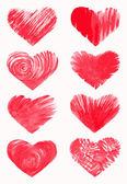 Set of sketchy hearts, hand drawn design elements — Stockvector