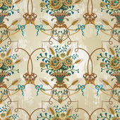Vintage seamless pattern with flowers. EPS 10 — Vettoriale Stock