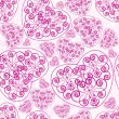 Seamless pattern of pink hearts. — ベクター素材ストック