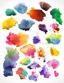 Vector watercolor splashes, isolated. — Stock Vector
