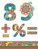 Alphabet numbers retro floral style. Vector. — Stock Vector