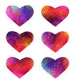 Set de corazones de colores. vector, eps 10 — Vector de stock
