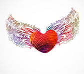 Abstract heart with wings. Vector, EPS 10 — Vettoriale Stock