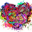 Abstract colorful heart of roses. — Stock Vector
