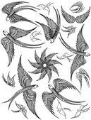 Vector set of Swallows. — Vecteur