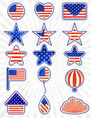 Object set of 4th July Independence day. EPS10 — Stock Vector