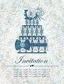 Elegant invitation with cake. Vector, EPS 10 — Stok Vektör