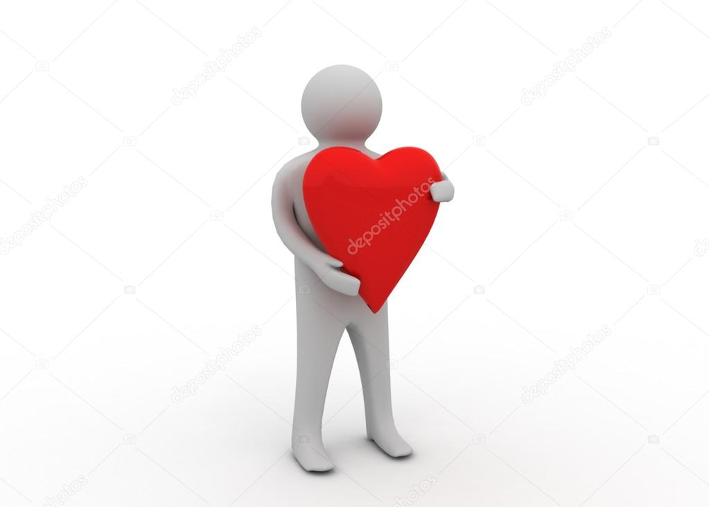 3d man with heart — Stock Photo #12242579