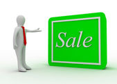 3d man with sale button — Stock Photo