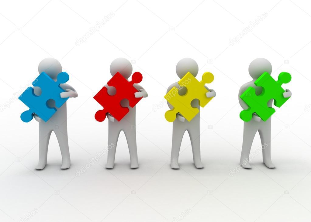 团队合作拼图概念