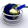 Earth globe with network cable — Stock Photo