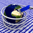 Earth globe with network cable — Stock Photo #28237613