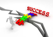 Puzzle is bridge to success — Stock Photo