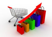 Sales grow chart with cart — Stock Photo