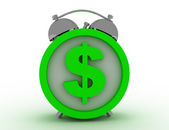 Alarm clock with dollar — Foto Stock