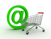 Shopping cart with e-mail — Stock Photo