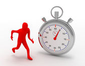 3d man running with stopwatch — Foto de Stock