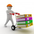 3d worker pushing a hand truck with files — Foto Stock