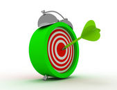 Alarm clock with target and dart arrow in bull eye center. time — Stock Photo