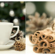 Collage with cup and cinnamon — Stock Photo