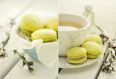 Collage with macaroon and tea set — Stock Photo